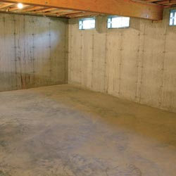 a cleaned out basement in florissant shown before remodeling has begun