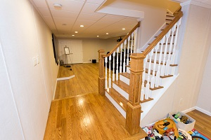 Finishing touches for a remodeled basement in St. Charles
