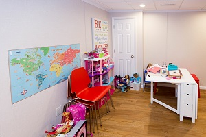 Children's playroom installed in a Springfield basement