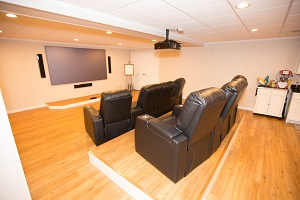 A basement turned into a home theater in St. Louis