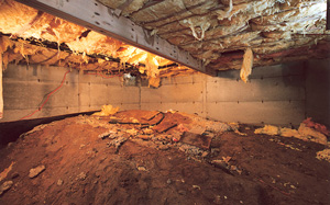 Crawl Space Moisture Barrier before in St. Louis