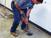 Coring the concrete of a concrete slab floor in Granite City