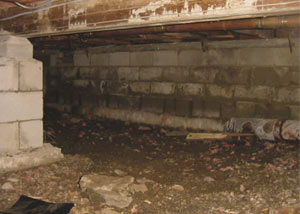 Rotting, decaying crawl space wood damaged over time in Jacksonville