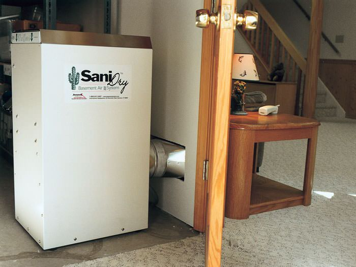 basement dehumidifier installed in a finished basement in arnold