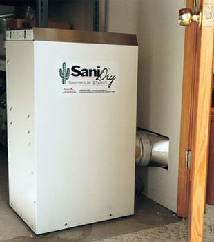 A Energy Efficient basement dehumidifier installed in a finished basement in Arnold