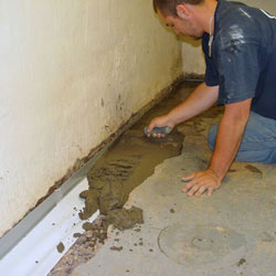 Testing a French drain system in a O'Fallon home.