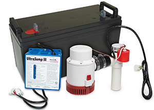 a battery backup sump pump system in Danville
